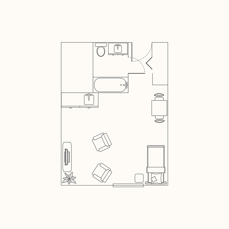 Floorplan A: Studio 350 Sqft.