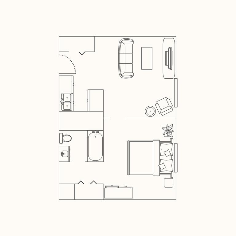 Floorplan B: 1 Bedroom 528 Sqft.