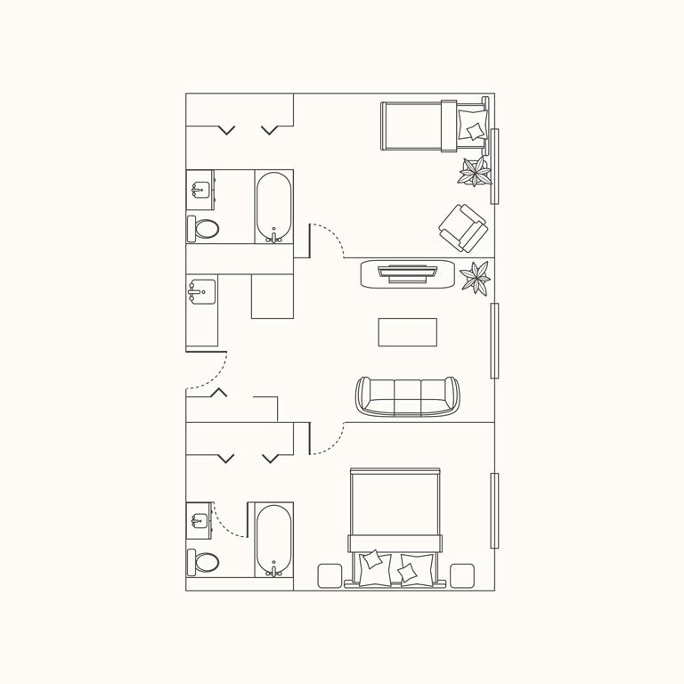 Floorplan C: 2 Bedroom 802 Sqft.